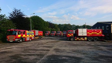 Fire crews from across the UK have gathered in Derbyshire Picture: SUFFOLK FIRE AND RESCUE