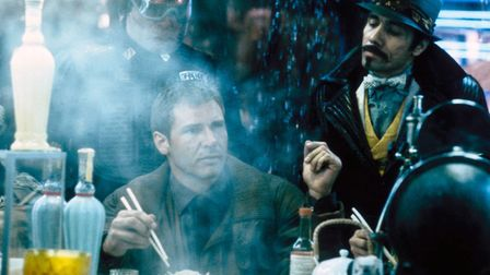 Harrison Ford tucks into some oriental street food in the classic sci-fi drama Blade Runner which cl