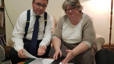 Suffolk Coastal MP Therese Coffey and Justice Minister Robert Buckland at their meeting over Hollesl
