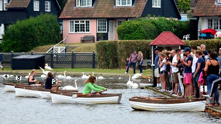 Competitors take part in the Thorpeness Regatta on the Meare. Picture: ARCHANT