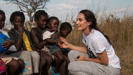 Laura Wright visited a school and sang and danced with the children Picture: David Shepherd Wildlif