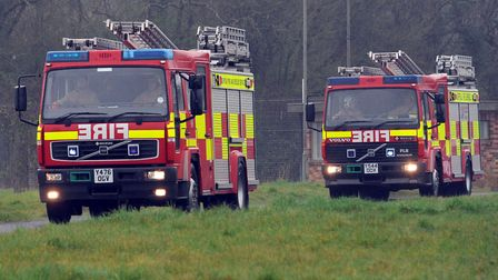 Three fire crews have been battling a combine harvester blaze in Withersfield, near Haverhill in Suf