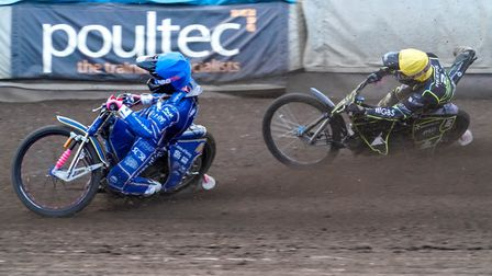 Cameron Heeps in trouble after being passed by Thomas Jorgensen in the rerun of heat five. Pictur