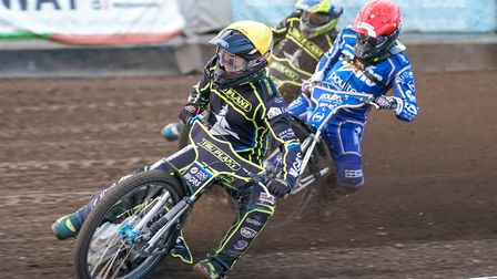 Cameron Heeps leading Craig Cook and Chris Harris in the opening heat of the King's Lynn meeting.