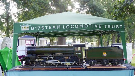 A 5in-gauge model of the locomotive the group hopes to build. Picture: BRIAN HALL/B17 TRUST