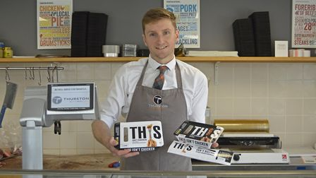 Alastair Angus, the owner of Thurston Butchers and the new vegan products they will be stocking. Pic