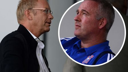Ipswich Town owner Marcus Evans, pictured at Burton, with Paul Lambert (inset). Picture: PAGEPIX