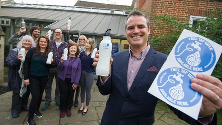 Launch of the Anglian Water Refill campaign with Anglian Water's head of sustainability Andy Brown a