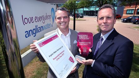 (L to R) Anglian Water's head of sustainability, Andy Brown, and CEO Peter Simpson with the Respon