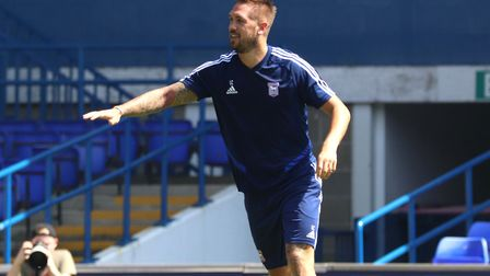 Luke Chambers during the recent Ipswich Town open day training session at Portman Road. Photo: Ross