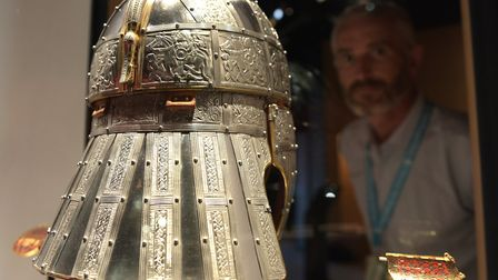 The replica helmet in the new exhibition at Sutton Hoo Picture: SARAH LUCY BROWN