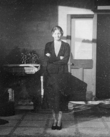 Mrs Edith Pretty, the owner of Sutton Hoo estate, standing on the veranda of Tranmer House Picture: