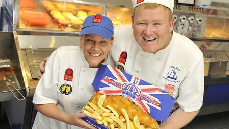 Lisa and David Henley, owner of Henley's of Wivenhoe fish and chip shop, is in the running to become