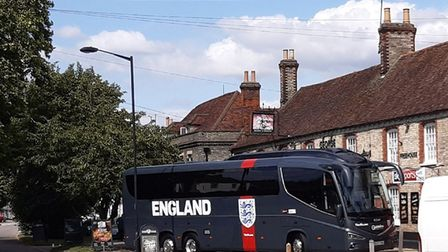 The FA England football team coach was spotted outside the George and Dragon pub in Long Melford in