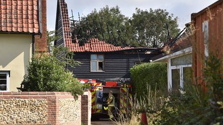 The roof of the barn conversion appeared to be severely damaged Picture: SONYA DUNCAN