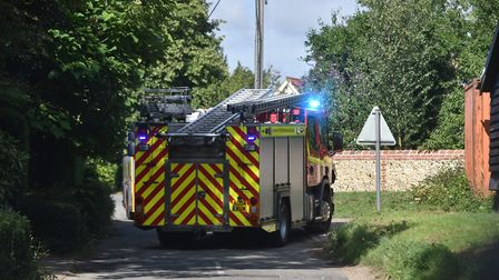 The scene of the house fire in Finningham Picture: SONYA DUNCAN
