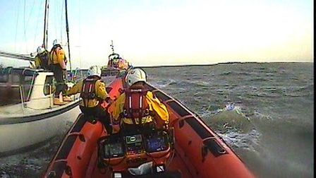 The lifeboat towed the yacht back to safer waters after its total power failure left it bobbing on r