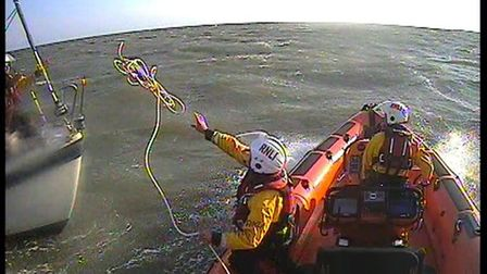 Winds of 25 knots - about 30mph - were whipping the yacht that was stranded off the coast of Essex P