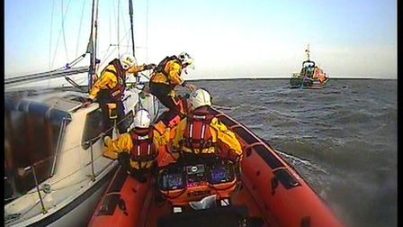 The lifeboat had to search for the yacht twice as those on board were unable to be sure of their loc