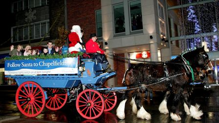 Charabanc and shires taking part in the Christmas parade in Norwich Picture: FREEDOM PHOTOGRAPHY