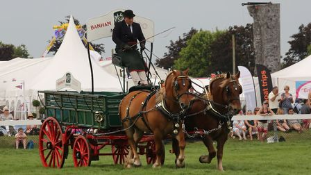 Restored Banham Zoo Show Dray with pair of Suffolks at the Royal Norfolk Show Picture: HERITAGE HOR
