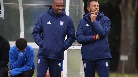 Kieron Dyer, left, has decided to leave his role as a coach of the Ipswich Town under 18 side. Pictu