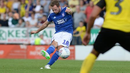 Alan Judge shoots from a free-kick at Burton Albion. Picture Pagepix