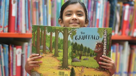 Sanvi Sinha with Suffolk's favourite children's book, The Gruffalo Picture: SARAH LUCY BROWN