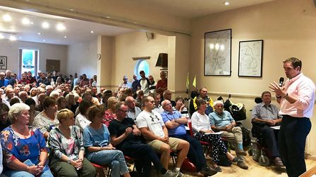 About 300 people turned up for a meeting at Witnesham Village Hall to discuss the proposed Ipswich N