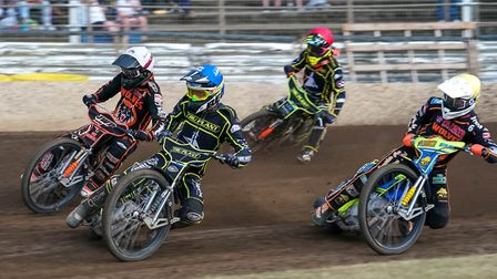 Jake Allen ahead of Wolves' Sam Masters (white helmet) and Kyle Howarth (yellow), with team-mate Kr