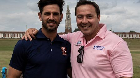 Essex Captain, Ryan Ten Doeschate catching up with former colleague Graham Napier Photo: CONTRIBUTED