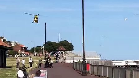 The air ambulance rushed to the scene in Clacton on Thursday PICTURE: JAKE FOXFORD