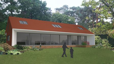 Computer image of a house designed by Mr Beech that features a large roof overhang to shade windows