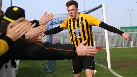 Josh Mayhew, who scored a hat-trick in Stowmarket Town's 6-0 win at Clapton in the FA Cup. Picture: