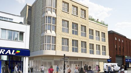 The view from St Andrew's Street South and the proposed curved shop front Picture: WEST SUFFOLK COUN