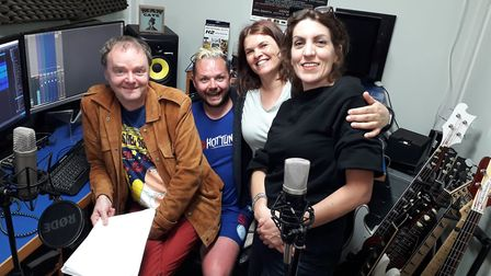A cast photograph from a recording of Lift the Flap. From left, John West, Suffolk-based actor Adam