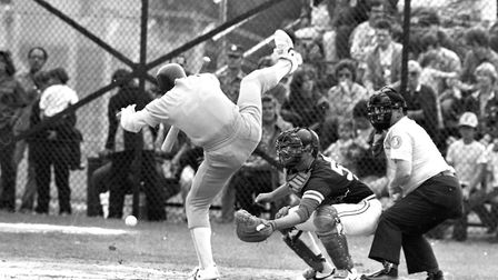 Action from a baseball match at RAF Woodbridge in August 1981 Picture: PAUL NIXON