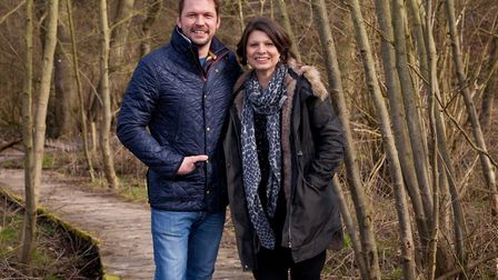Jimmy Doherty and Red Rose Chains artistic director Joanna Carrick at Jimmy's Farm the location for