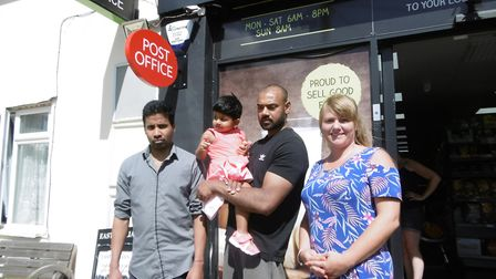 The staff team at the Costcutter supermarket, Acton, which is getting a sub post office. Rajah Thush