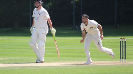 Cameron Valente, bowling, who scored 78 not out and took two early wickets in Copdock's 11-run win o