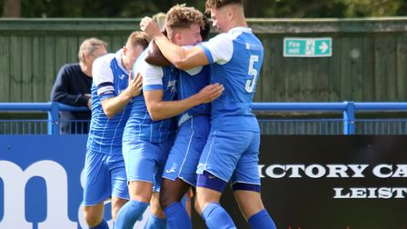 Leiston players celebrate after Will Davies had put them 1-0 up against Coalville Town last weekend.