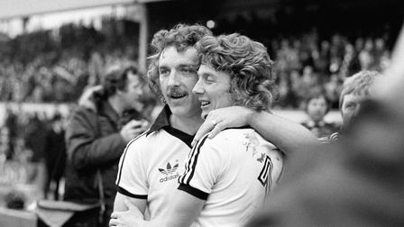 Ipswich Town's Kevin Beattie and Clive Woods Picture: PA images