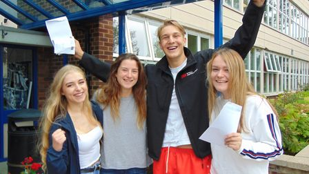 Students celebate their A-Level results last year at Farlingaye High School Picture: KATY SANDALLS