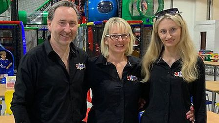 Saxmundham's 4 Fun Play Centre owner Layden Seymour with wife Frances and daughterTaylor Picture: L