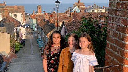Left to right: 2019 Aldeburgh Carnival Queen Poppy Martinez and her attendants Ellen Cooney and Amel