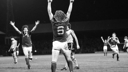 Kevin Beattie after scoring as Town drew 1-1 with Swiss side Grasshoopers Zurich in 1979 Picture: A