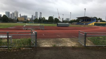 Mile End Stadium athletics track with the London skyline in the distance. Picture: CARL MARSTON