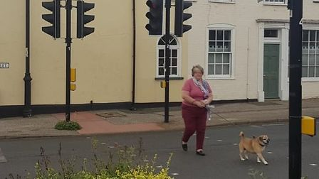 Therese Coffey makes use of the crossing at Wrentham Picture: THERESE COFFEY