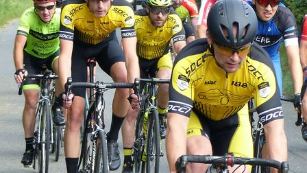 Members of the promoting Stowmarket club in the bunch at the Mid-Suffolk Road Race. Picture: FERGUS