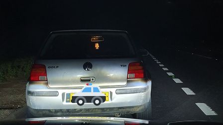 A car was stopped just after midnight on tha A14 near Woolpit by police who suspected the car was no